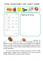 English Worksheet: The history of hot dog