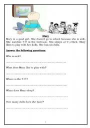 English Worksheets: Mary