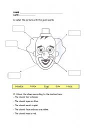 English Worksheets: CLOWN�S FACE