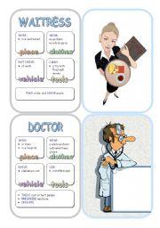 English Worksheets: Job Cards - Set 4