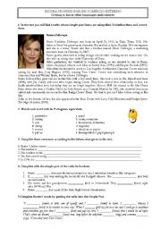 English Worksheet: Reading Comprehension about a famous actress
