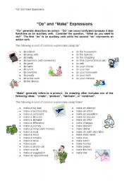 English Worksheet: Do and Make Expressions