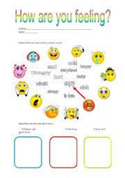 English Worksheet: how are you feeling