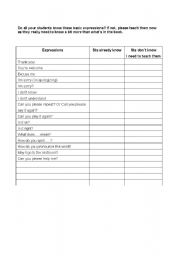 English Worksheets: Basic Classroom Expressions for Students