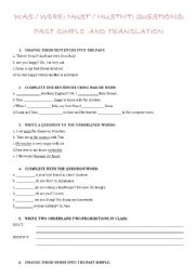 English Worksheet: THE PAST SIMPLE AND QUESTIONS