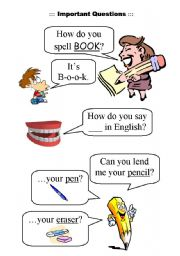 English Worksheets: Important questions