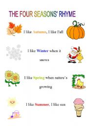 English Worksheet: The four seasons� rhyme