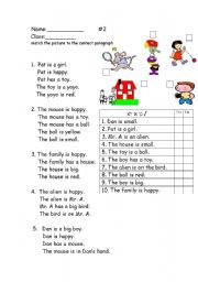 English Worksheets: reading comprehension for young readers