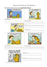 English Worksheet: Garfield and Reported Speech