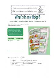 English Worksheet: What`s in my fridge?