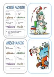 English Worksheet: Job Cards - Set 7