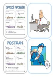 English Worksheets: Job Cards - Set 8