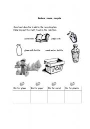 English teaching worksheets: Recycling