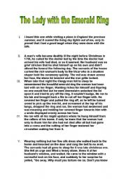 English Worksheet: The Lady With The Emerald Ring
