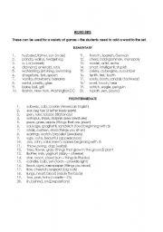 English Worksheets: Word sets
