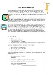 English Worksheets: Two sisters and the cat