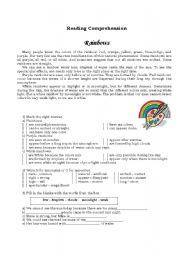 English Worksheet: Rainbows Reading Comprehension