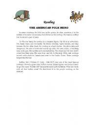 English Worksheets: Text The American Folk Hero