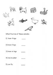 English Worksheets: Find the fraction