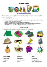 English Worksheet: Summer Camps (Part 1) - Going Camping