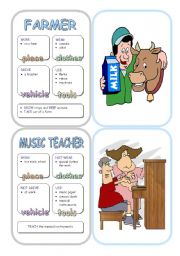 English Worksheet: Job Cards - Set 10
