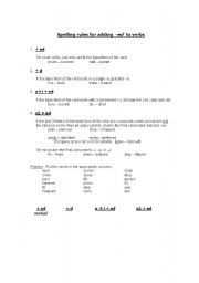 English worksheet: Rules for adding -ed_self-study worksheet