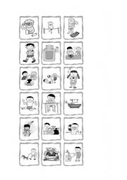 English Worksheets: Daily routine picture cards