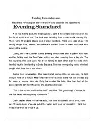 English Worksheet: newspaper article  - FISHING BOAT SINKS, EVERYONE SURVIVES