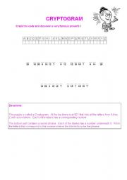 English Worksheet: CRYPTOGRAM