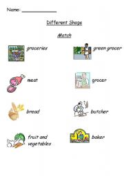 English Worksheets Different Shops