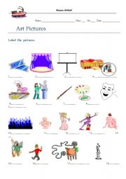 English Worksheets: art pics for learning vocab