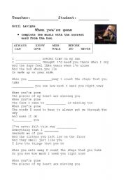 English Worksheets: AVRIL LAVIGNE-SONG