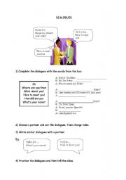 English Worksheet: DIALOGUES - INTRODUCING YOURSELF