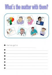 English Worksheet: What´s the matter with them (2 pages: writing exercise, domino cards)