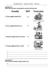 English Worksheets: Usually Vs Yesterday