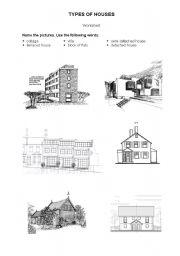 English Worksheet: Types of houses/accomodation