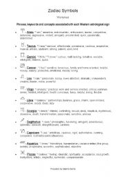 English Worksheets: Zodiac Symbols (Star signs) and charcteristics associated with them