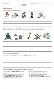 English worksheet: chores, have to Simple Present .Present Continuous