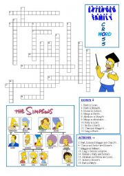 English Worksheet: Extended Family Vocabulary with the Simpsons (Crossword 2)