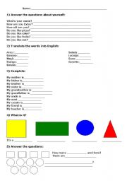 English worksheet: Exercises about Family and Shapes