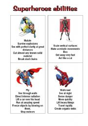 English Worksheet: superheroes 1