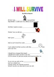 English Worksheets: I will survive- song activity