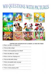 English Worksheet: wh questions with pictures in present continuous tense