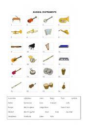 musical instruments worksheets. Black Bedroom Furniture Sets. Home Design Ideas