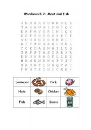 English Worksheets: worksheet meat and fish