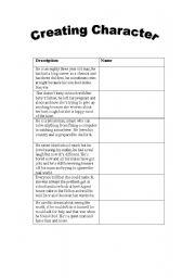 English Worksheets: creating characters