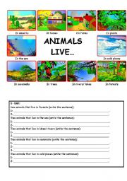 English Worksheets: Animals live...