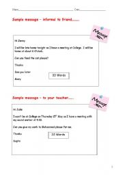 English Worksheets: writing practice - write a message