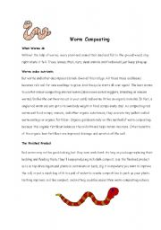 English Worksheets: Worm Composting