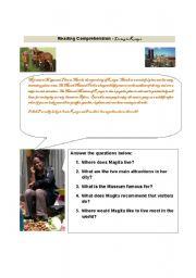 English Worksheet: Reading Comprehension - Living in Kenya